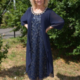 Rochie moderna din dantela si voal aplicat, nuanta bleumarin (Culoare: BLEUMARIN, Marime: 52) - Rochie de seara