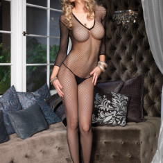 CATSUIT SEAMLESS FISHNET V FRONT LONG SLEEVES - Lenjerie sexy femei