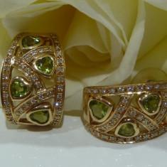 Cercei aur 14k cu diamante si peridot - Cercei cu diamante
