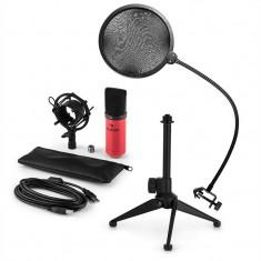 AUNA MIC-900RD-LED V2, set de microfon usb, microfon condensator ro;u + filtru pop + suport de masă