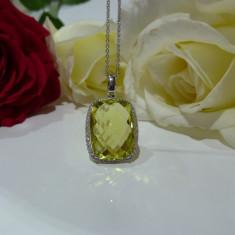 Colier aur 18k cu diamante si quartz - Colier aur alb