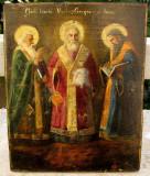 Icoana pictata anii 20 Sfantii 3 Ierarhi Vasile Grigore Ioan