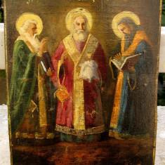 Icoana pictata anii 20 Sfantii 3 Ierarhi Vasile Grigore Ioan - Icoana pe lemn