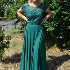 Rochie vaporoasa de ocazie, realizata din voal si tul verde inchis (Culoare: VERDE INCHIS, Marime: 56) - Rochie de seara