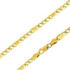 Lanț din aur - trei ochiuri ovale, za cu cheie grecească, 500 mm - Lantisor aur