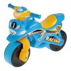 Motocicleta de curse Doloni cu sunete si lumini, albastru cu galben