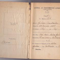 Carnet de elev anii '40, Liceul C. Diaconovici Loga Timisoara - Diploma/Certificat
