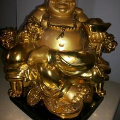 Statuie Budha, vesel, ceramica, emailata, aurie