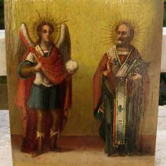 Icoana pictata pe lemn sec 19 Arh Mihail si Sf Nicolae - Icoana pe lemn
