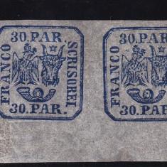 1864 LP13 PRINCIPATELE UNITE EM II 30 PAR. ALBASTRU PERECHE MNH POINCON LPASCANU - Timbre Romania, Nestampilat
