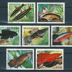 NICARAGUA 1981 - PESTI DE ACVARIU - SERIE DE 7 TIMBRE - STAMPILATA / pesti74