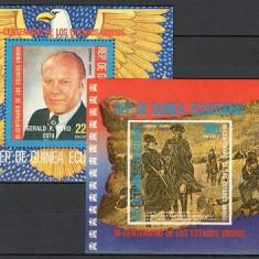 GUINEA ECUATORIALA 1975 - REVOLUTIA AMERICANA, PRESEDINTI - 2 BLOCURI NESTAMPILATE - MNH - COTA MICHEL : 13.5 E / personalitati122