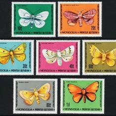 MONGOLIA 1977 - FLUTURI - SERIE DE 7 TIMBRE - NESTAMPILATA - MNH - COTA MICHEL : 9 E / fluturi85