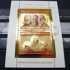 GUINEA ECUATORIALA 1975 - PERSONALITATI - BLOC STAMPILAT - IN RELIEF CU FOLIE DE AUR / folieaur27