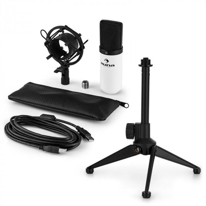 AUNA MIC-900WH V1, set de microfon usb, microfon condensator alb + suport de masă foto mare