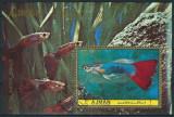 AJMAN 1972 - PESTI DE ACVARIU - BLOC STAMPILAT / pesti54