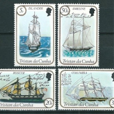 TRISTAN DA CUNHA 1983 - CORABII CU PANZE - SERIE DE 4 TIMBRE - NESTAMPILATA - MNH / navigatie47
