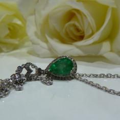 Colier aur 14k cu diamante si smarald - Colier aur alb