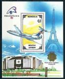 MONGOLIA 1989 - AVIATIE - BLOC NESTAMPILAT - MNH / aviatie31