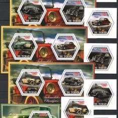 TCHAD 2014 - AUTOMOBILE DE EPOCA - SERIE DE 6 TIMBRE+3KLB+BLOC NESTAMPILAT - MNH / autopriv02