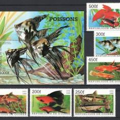 GUINEA 1998 - PESTI DE ACVARIU - SERIE DE 6 TIMBRE+BLOC NESTAMPILAT - MNH / pesti174