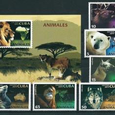 CUBA 2011 - FAUNA - SERIE DE 6 TIMBRE+BLOC NESTAMPILAT - MNH / fauna181