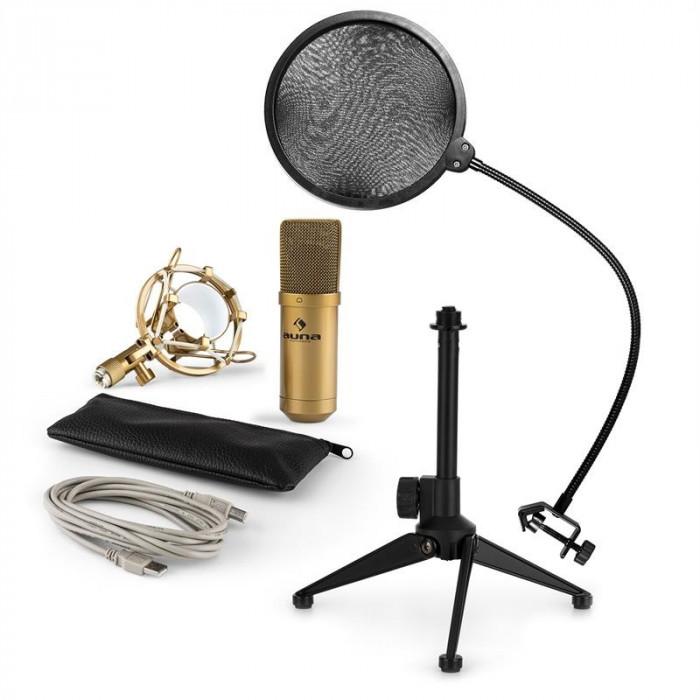 AUNA MIC-900G-LED V2, set de microfon usb, microfon condensator auriu + filtru pop + suport de masa foto mare