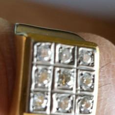 Inel aur montura cu briliante taietura veche jidaveasca, Carataj aur: 14k, Culoare: Galben