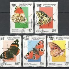 CAMBOGIA 1995 - FLUTURI - SERIE DE 5 TIMBRE - STAMPILATA / fluturi27