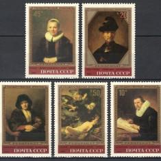 RUSIA 1983 - PICTURA REMBRANDT - SERIE DE 5 TIMBRE - NESTAMPILATA - MNH / pictura201