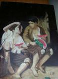 """Pictura foarte veche""""Copiii mănâncă fructele""""de Murillo Esteban,Tablou de colect"""