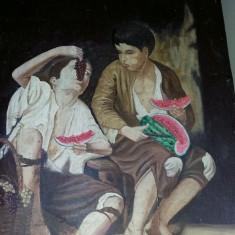 Pictura foarte veche fara rama, tablou pictat superb fara rama, panza pictata - Pictor strain, Portrete, Ulei, Realism