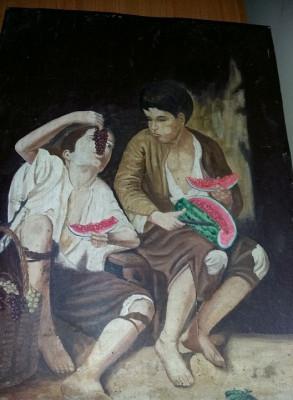 """Pictura foarte veche""""Copiii mănâncă fructele""""de Murillo Esteban,Tablou de colect foto"""