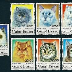 GUINEA BISSAU 1985 - PISICI - SERIE DE 7 TIMBRE - NESTAMPILATA - MNH / caini65