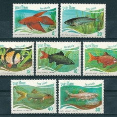 VIETNAM 1988 - PESTI DE ACVARIU - SERIE DE 7 TIMBRE - NESTAMPILATA - MNH / pesti113