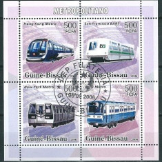 GUINEA BISSAU 2006 - TRENURI, LOCOMOTIVE - BLOC STAMPILAT / trenuri48