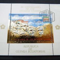 GUINEA ECUATORIALA 1975 - BICENTENAR, STATELE UNITE ALE AMERICII - BLOC STAMPILAT (IN RELIEF CU FOLIE DE AUR)