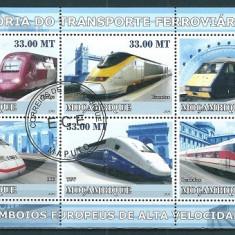 MOZAMBIC 2009 - ISTORIA TRANSPORTULUI FEROVIAR (V) - BLOC STAMPILAT - COTA MICHEL : 10 E / trenuri67