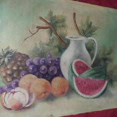 Tablou vechi pictat pe panza fara rama de pictorul I.RADU,Pictura veche,T.Gratui, Natura statica, Ulei, Realism