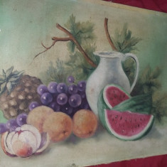 Tablou vechi pictat pe panza fara rama de pictorul I.RADU, Pictura veche, T.Gratui - Pictor roman, Natura statica, Ulei, Realism