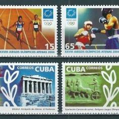 CUBA 2004 - JOCURI OLIMPICE - SERIE DE 4 TIMBRE - NESTAMPILATA - MNH / sport72