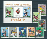 ZAIRE 1981 - CM. DE FOTBAL SPANIA 82 - SERIE DE 8 TIMBRE+BLOC NESTAMPILAT - MNH - COTA MICHEL : 19 E / sport131