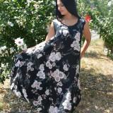Rochie lejera de vara cu croi asimetric, culoare neagra cu flori - Rochie de seara