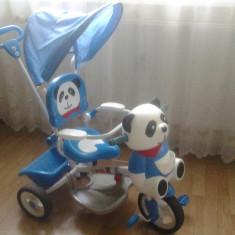 Tricicleta Jumbo Panda si scaun de masina Primii Pasi - Tricicleta copii