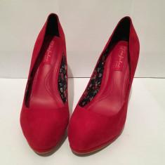 Pantofi toc Zara - Pantof dama Zara, Culoare: Rosu, Marime: 37, Cu toc