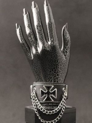 Bratara piele Crucea de fier cu lanturi foto