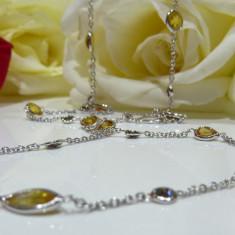 Colier aur 18k cu diamante si safire - Colier aur alb