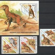 SAHARA 1997 - DINOZAURI - SERIE DE 6 TIMBRE+BLOC STAMPILAT / preistorice38