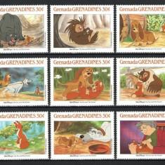 GRENADA GRENADINES 1988 - DISNEY - FOX SI HOUND - SERIE DE 9 TIMBRE - NESTAMPILATA - MNH / disney41