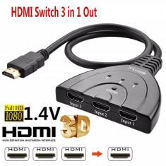 Switch 3 porturi HDMI cu cablu: 3x HDMI input - 1x HDMI output